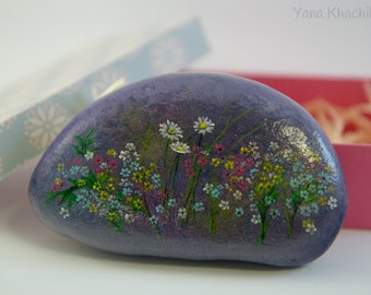 Chamomile (Original oil painting on a stone). Free shipping