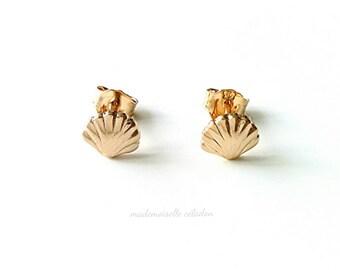 Earrings, gold 750/000 - chip seashell Mermaid tarnished - mermaid earrings, yellow gold 750 plaqted