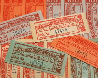 8 x Vintage Tickets Coal and Ice 1930s Coal Company Ephemera Colorful Junk Journal Lot Altered Art Scrapbooking