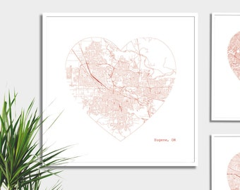 Eugene Oregon City Heart Map - Art Print