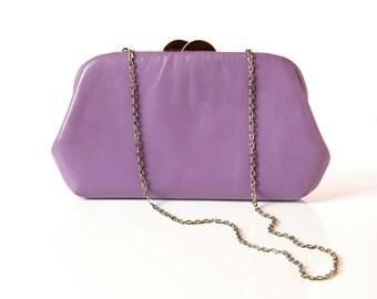 Vintage Lavender Leather Convertible Clutch / 1970s Purple Shoulder Bag Purse / 70s Leather Handbag