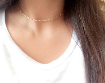 Minimalist halo bar choker necklace / contemporary choker necklace / dainty choker necklace / chain necklace