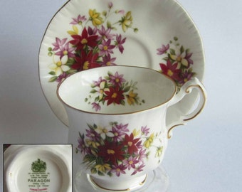 Free Shipping Paragon Flower Festival F Bone China Tea Cup and Saucer - Made in England