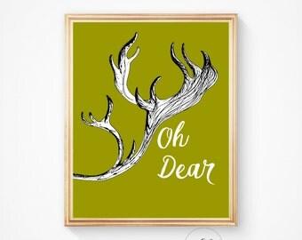 Animal print, Deer antlers, deer art, deer print, deer antler print, antler art, deer head print, deer head, antlers, oh dear, wall art
