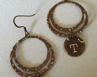 Brass initial earrings