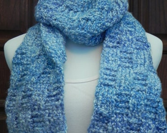 Handmade Crochet Women's / Junior's Blue and White Marbled Basketweave Scarf