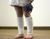 White leg warmers with cables, Alpaca wool cable knit natural white knitted boot socks for baby, infant, toddler, children, kid, boot socks