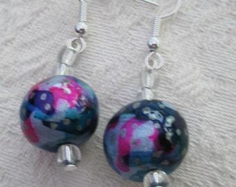 Moonlight night earrings, multi colours , Starry earrings,  hippie trippie,  clay designs, dangle style,  gorgeous EtsyGift,  Boho style