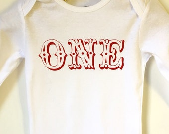One First Birthday Baby Onesie/ 1st Birthday/ Circus Theme/ Carnival Theme