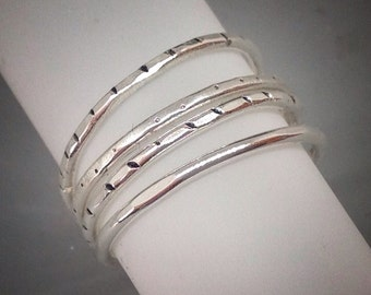 Christmas Gift For Friends Sterling Silver Rings- Stacking Rings with Textures