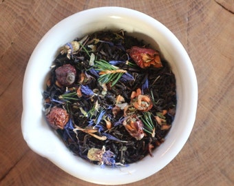 Fir Forest Tea - lapsang souchong - fir needles - birch leaves - rosehips - raspberry leaves - violet leaves