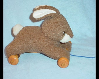 Vintage Plush Pull Toy Bunny Rabbit on Wheels