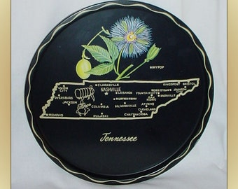 Vintage Metal Tennessee State Souvenir Serving Tray Plate