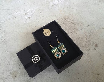 Steampunk Computer chip earrings with green swarovski crystal and watch parts