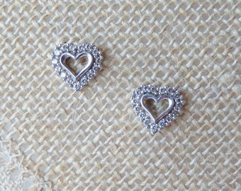 Sterling Silver Cubic Zirconia Earrings Vintage Open Heart Zircon Stud, Cz Pierced Earrings, Wedding Jewelry Bridal Dainty, CZHeart Studs