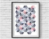 Colorful Geometric Print Honeycomb Art Hexagon Poster Triangle Print Gray Art Pink Print Nursery Art Scandinavian Decor INSTANT DOWNLOAD