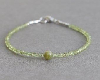Peridot Bracelet August Birthstone Stacking Bracelet  Beaded Bracelet