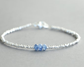 Sapphire Bracelet With Karen Hill Tribe Silver Beads - Stackable Bracelet