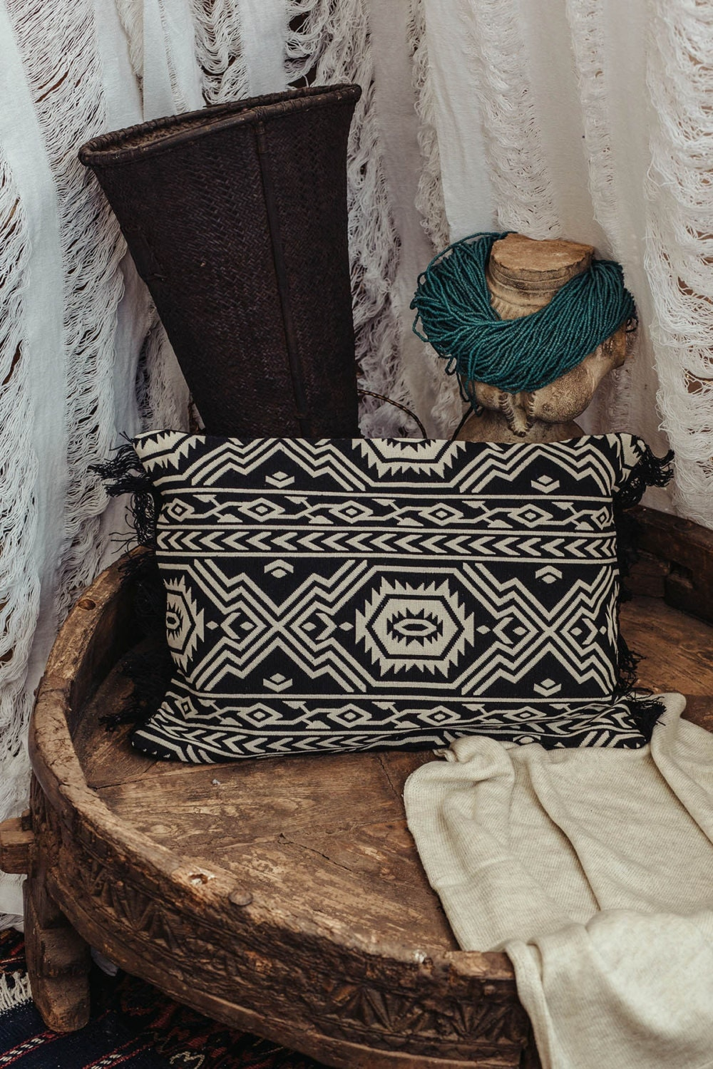 Black Tribal Throw Pillow : Tribal Throw Pillow Cover Knitted Black And White by Hanamer
