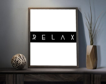 Relax Digital Art Print - Inspirational Enjoy Life Art, Motivational Sit Back Quote Art, Printable Enjoy the Show Typography