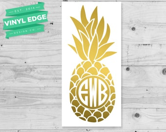 Gold Pineapple Monogram Decal - Gold Pineapple Monogram Laptop Decal - Gold Pineapple Monogram Phone Decal - Gold Pineapple Decal [MON00016]