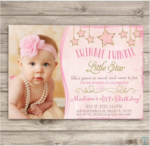 Twinkle Twinkle Little Star Birthday Invitations Photo Shabby