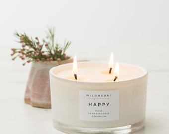 Aromatherapy Candle  - Rose & Frankincense Soy Candle, 100% natural