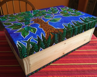 Hand painted zendoodled pine storage box.