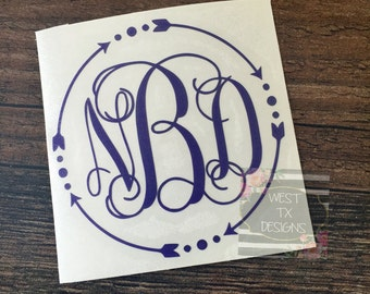 Monogrammed Decal | Personalized | Arrow Monogram | Circle Monogram | Laptop Monogram | Car Monogram | Tumbler Monogram | Notebook Monogram