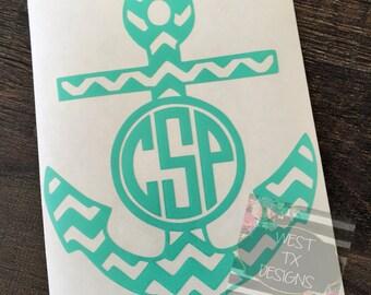Monogrammed Anchor | Chevron Anchor | Chevron Decal | Anchor Monogrammed Decal | Nautical | Car Decal | Yeti Decal | Laptop Decal