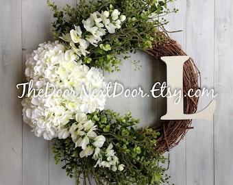 Monogram Wreath for Mothers Day - White Hydrangea Wreath - Elegant Wreath - Initial Wreath - Floral Wreath