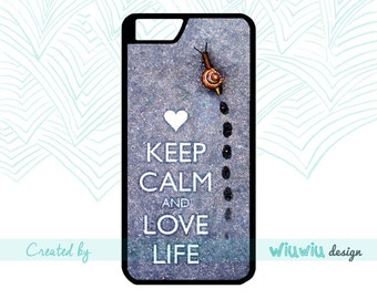 Keep calm and love life nature snail trail heart simple and amazing case for iPhone 4 4s 5 5s 5c 6 6+ 6s 6s+ 7 7+ phone cover for iPhone .60