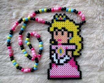 Princess Peach Super Mario Brothers Sprite Perler Bead Kandi Necklace Rave EDM PLUR