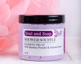 Passion Fruit Shower Soufflé for Face and Body  - Handmade Body Wash - Whipped Soap - Whipped Mousse - Body Cleanser
