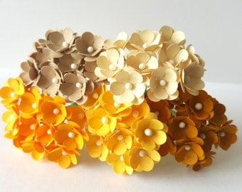 50 10mm Mini Yellow Paper Flowers/ Paper flowers with stems / Small yellow paper flowers / yellow flowers with wire stems / yellow rose buds