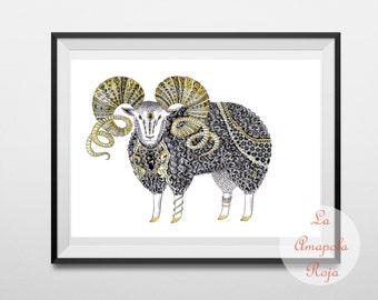 Aries art print, art print unframed, Ram poster, zodiac decor, Aries birthday gift, home decor, wether illustration, Aries wall hanging