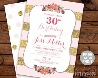 Elegant Birthday Invitation Any Age Gold Pink Glitter Invite INSTANT DOWNLOAD Surprise Womens Party Editable Personalize Digital Printable