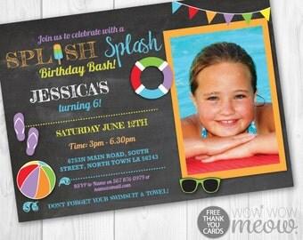 Pool Party Invitation Splish Splash Birthday Bash Invite Swimming INSTANT DOWNLOAD Photo Personalize TWINS Chalk Editable Printable Template