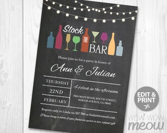 Stock The Bar Invitations Engagement Invite Couples Shower Chalk Wedding Party INSTANT DOWNLOAD String Lights Personalize Editable Printable