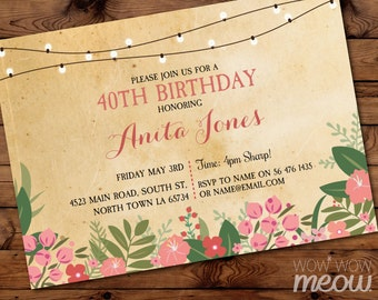 Birthday Invitations Coral Women's 40th 50th 60th 70th Any Age Invite Floral Chalk Flowers Editable Invitation INSTANT DOWNLOAD Personalize