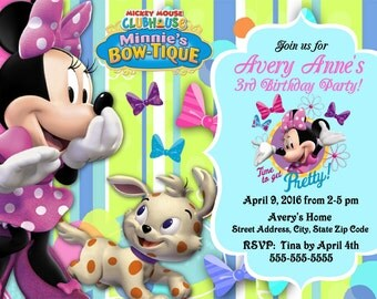 Printable Minnie Bow-tique Birthday Party Invitations Personalized Mickey Mouse Clubhouse