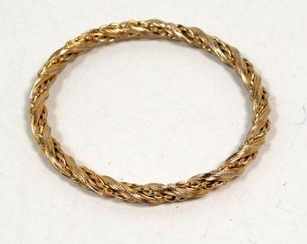Costume Gold Tone Braided and Twisted Slip On Bangle Bracelet