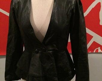 Vintage Leather Peplum Blazer