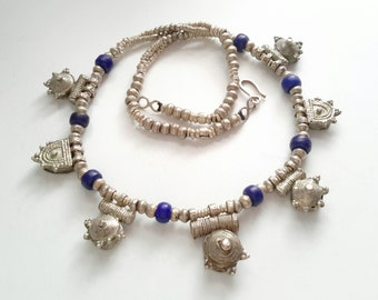 antique Ethiopian silver telsums Necklace with antique blue African trade beads