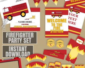 Printable Firefighter Party, editable firefighter party set, party decor for kid's fireman, photobooth frame, firefighter banner, party sign