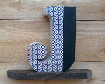 BOOK LETTERS (J), #340 ....Ready Made Book,  Book Cut Letters, Book Initials, Letter Cut from old book, Engagement Gift, Library Decor