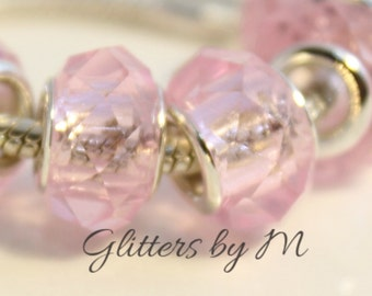 Light Pink Glass Faceted Large Hole Bead for European Style Charm Bracelets