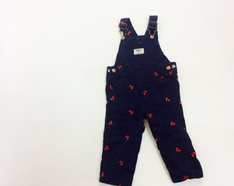 Vintage oshkosh overalls 1 year old overalls baby overalls 12 mo overalls 12 month baby oshkosh overalls baby clothes cherry baby overalls