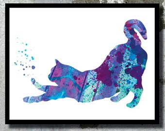 Cat Illustration Cat Watercolor Art Print Cat silhouette Cat poster Playing Cat Decor Cat painting Cat Nursery Cat Birthday gift Kitty art