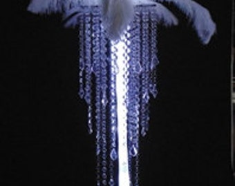 Luxurious Elite Acrylic Bead Chandelier Centerpiece With Ostrich Feather Top for Special Occasion Wedding Table